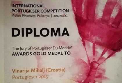 Ponovni zlatni uspjeh vinarije Mihalj na svjetskom ocjenjivanju portugizaca - Portugieser Du Monde